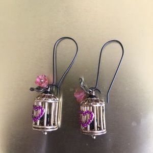 Betsey Johnson birdcage earrings